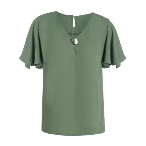 V Neck Butterfly Sleeve Chiffon T Shirt