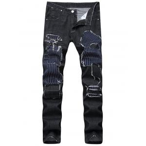 Straight Leg Patched Jeans