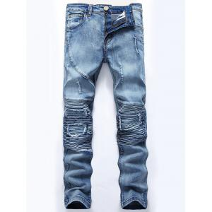 Ripped Slim-Fit Biker Jeans