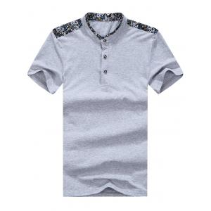 Floral Trim Half Button Mandarin Collar Tee - Gray - Xl