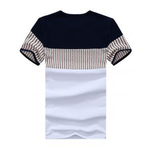 Striped Panel Color Block Tee - WHITE XL