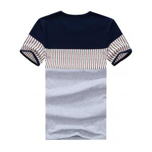 Striped Panel Color Block Tee - GRAY 3XL