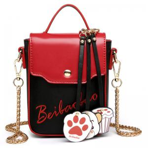 Cartoon Pendants Mini Crossbody Bag - Red With Black