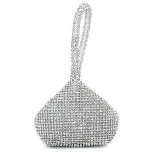 Geometric Shaped Rhinestone Evening Bag - Silver