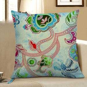 Decorative Flower Fish Bird Print Pillow Case - Light Blue - 45*45cm