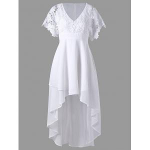 Lace Panel High Low Flowy Dress