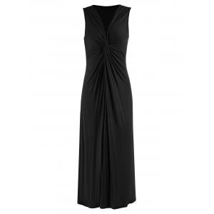 Plus Size Knot V Neck Long Evening Dress