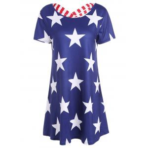 Short Sleeve Star Print Striped Lattice Dress