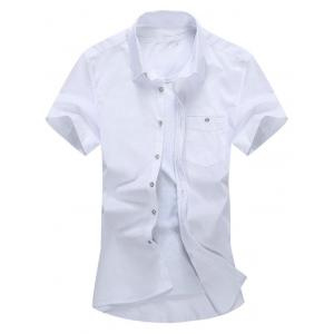 Short Sleeve Button Down Chest Pocket Shirt - White - L