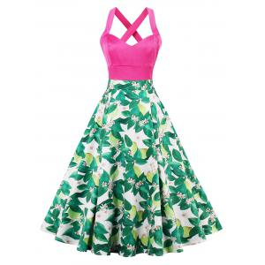 Floral Leaf Print Criss Cross Vintage Dress - Colormix - 2xl