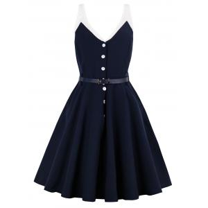 Half Button Sleeveless Belted Vintage Dress