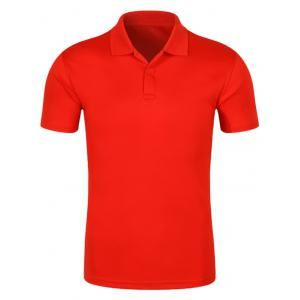 Half Button Quick Dry Plain Polo Shirt - Red - 2xl