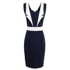 Lapel Panel Color Block Bodycon Dress - Purplish Blue - 2xl