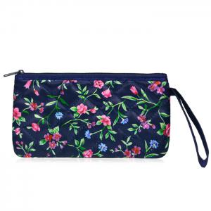 Satin Zip Top Quilted Wristlet