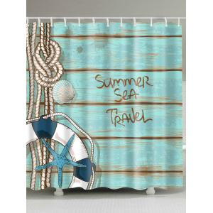 Eco-Friendly Plank Buoy Shower Curtain with Hooks - Lake Blue - W71 Inch * L79 Inch