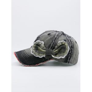 Bowknot Artificial Sanding Denim Baseball Hat - BLACK GREY