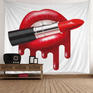 Lipstick in Lip Print Wall Hanging Tapestry - Red - W59 Inch * L59 Inch