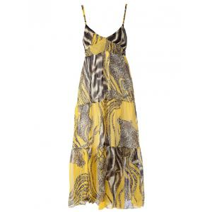 Spaghetti Strap Flowy Summer Maxi Dress - YELLOW ONE SIZE
