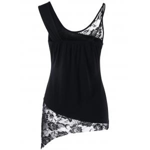 Lace Panel Floral Asymmetrical Butterfly Tank Top - BLACK M