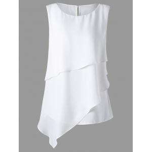Plus Size Sleeveless Overlay Asymmetrical Top