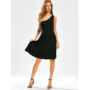 Open Back High Waist Little Black Skater Dress -