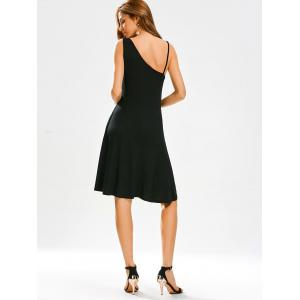 Open Back High Waist Little Black Dress - BLACK M