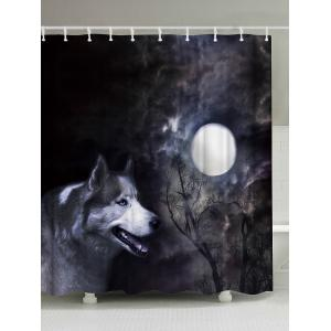 Washable Shower Curtain with Moonlight Wolf Print - Black Grey - W59 Inch * L71 Inch
