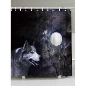 Washable Shower Curtain with Moonlight Wolf Print - Black Grey - W71 Inch * L71 Inch