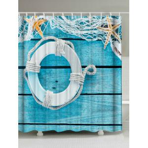 Buoy Wood Grain Washable Fabric Shower Curtain - Lake Blue - W71 Inch * L79 Inch