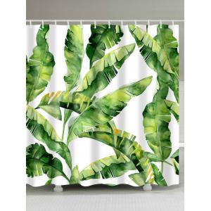 Banana Leaf Polyester Fabric Shower Curtain
