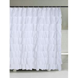 Polyester Fabric Ruffle Layers Design Shower Curtain - White - W71 Inch * L71 Inch