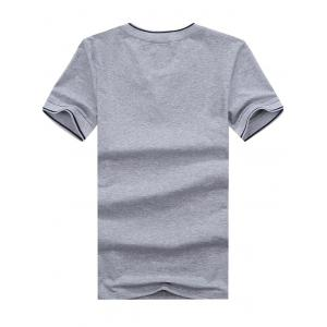 V Neck Embroidered Tee - GRAY 3XL
