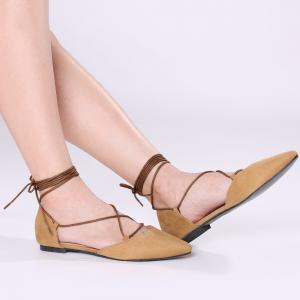 Lace Up Suede Pointed Toe Flats - Brown - 38