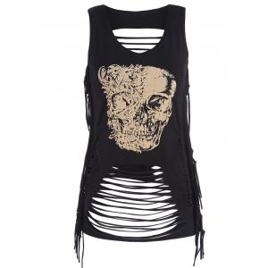 Fringe Skull Print Distressed Tank Top