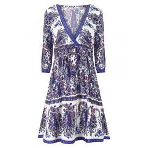 V Neck Paisley Print Wrap Dress - Blue - S