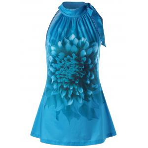 Floral Tie Neck Tunic Top - Peacock Blue - L