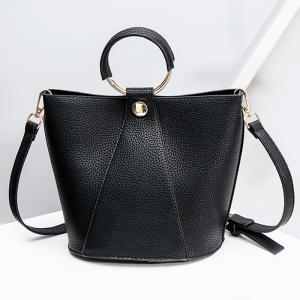 Metal Ring Faux Leather Handbag - Black