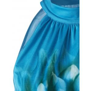 Floral Tie Neck Tunic Top - PEACOCK BLUE XL