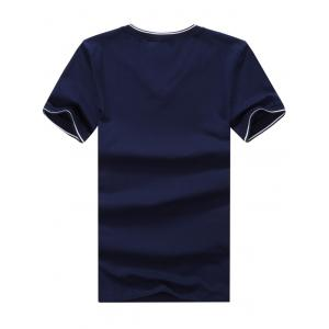 V Neck Embroidered Tee - PURPLISH BLUE XL