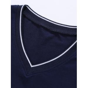 V Neck Embroidered Tee - PURPLISH BLUE 2XL