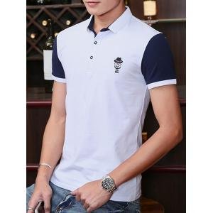 Two Tone Embroidered Polo Shirt - WHITE XL
