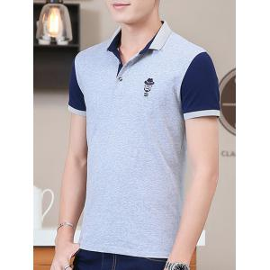 Two Tone Embroidered Polo Shirt - LIGHT GRAY XL