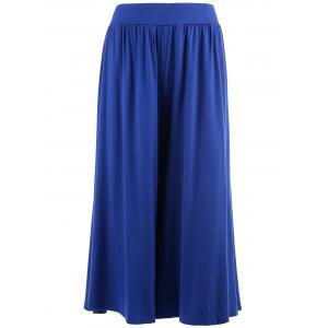 Plus Size Wide Leg Capri Palazzo Pants - Blue - 4xl