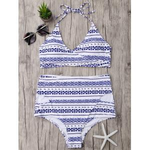 Halter High Waisted Wrap Bikini Set - Blue - L