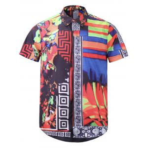 Color Block Floral Tribal Print Cover Placket Shirt