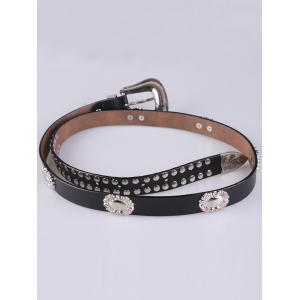 Metal Engraved Pin Buckle Rivet Waist Belt - Black - 37