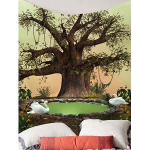 Home Decor Life Tree Swan Print Wall Tapestry -