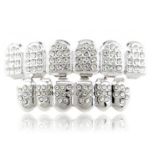Rhinestone Hip Hop Top Bottom Teeth Grillz Set