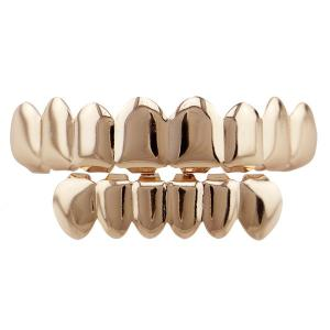 Top and Bottom Hip Hop Teeth Grillz Set - Rose Gold