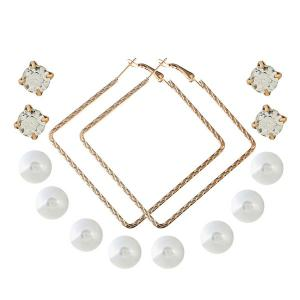 Faux Pearl Rhinestone Tiny Earring Set